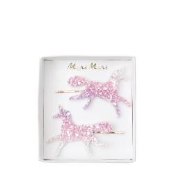 2 barrettes - Licorne glitter