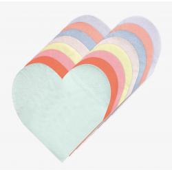 20 petites serviettes - coeur pastel 8 coloris