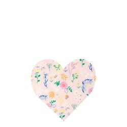 20 petites serviettes - coeur fleuri