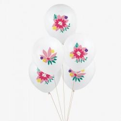 5 ballons tatoués - Fleurs