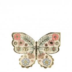 16 serviettes - Papillons fleuris