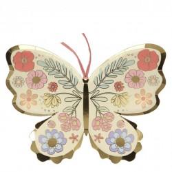 8 assiettes - Papillons fleuris