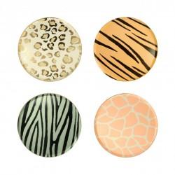 8 petites assiettes - imprimé animal (4 coloris)