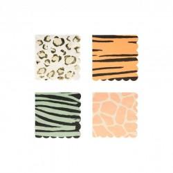 16 petites serviettes - imprimé animal (4 coloris)