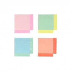20 petites serviettes - Franges colorés (4 coloris)