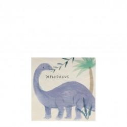 16 petites serviettes - Royaume des dinosaures (8 designs)