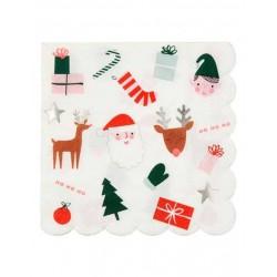 16 petites serviettes - Noël