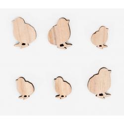 12 confettis en bois- Poussin