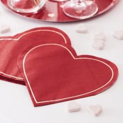 16 serviettes - coeur rouge