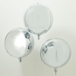 3 ballons orb argent - 56 cm