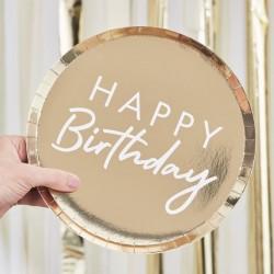 "8 assiettes ""Happy birthday"" - or mylar"