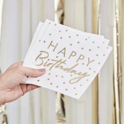 """16 serviettes """"Happy birthday"""" - or"""