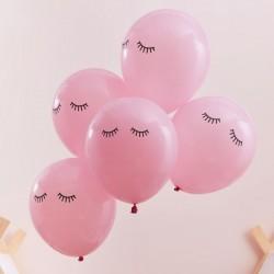 5 ballons rose - yeux