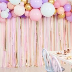 Kit arche à ballons et rideau de ruban -pastel et or
