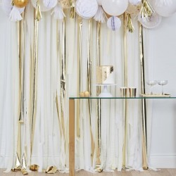 Rideau de rubans - blanc, crème et or