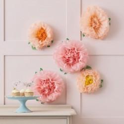 Mix 6 fleurs géantes en papier - Rose et pêche