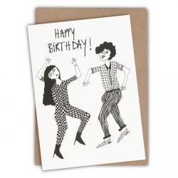 Carte happy birthday dancing couple- Helen B