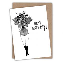 Carte card happy birthday flower girl