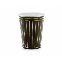 6 gobelets noirs et ligne or