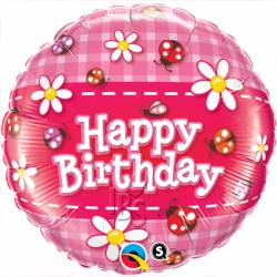 Ballon aluminium - Happy birthday Coccinelles
