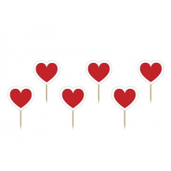 6 toppers - Coeur rouge