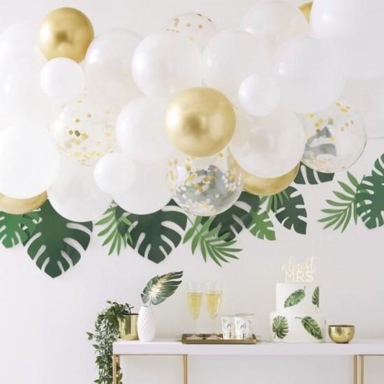 Kit arche à ballons - Blanc, chrome et eucalyptus