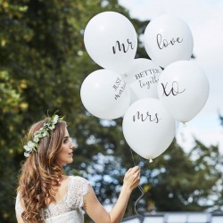 6 ballons blancs - Inscriptions mariage