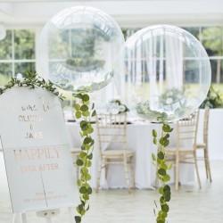 Ballon géant transparent et eucalyptus