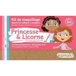 Kit de maquillage Bio 3 couleurs à base d'eau - Princesse et licorne
