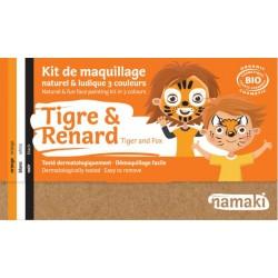 Kit de maquillage Bio 3 couleurs à base d'eau - Tigre et renard