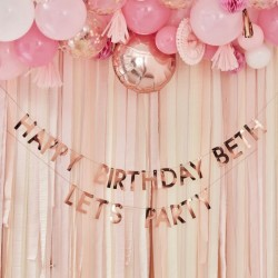 Guirlande Happy birthday  à customiser - Or rose