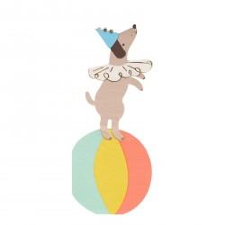 16 serviettes chien de cirque