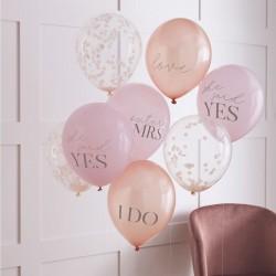 5 ballons mix EVJF - poudré et confettis