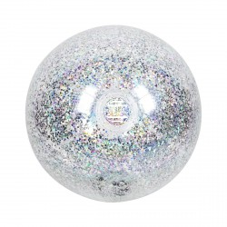 Ballon gonflable de plage/piscine - transparent glitter 35cm