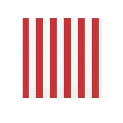 16  petites serviettes lignées rouge et blanc