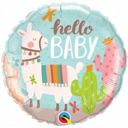 """Ballon aluminium """"Hello Baby"""" - Lama"""