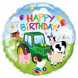 Ballon aluminium - Happy birthday à la ferme