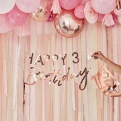 Guirlande Happy Birthday à customiser calligraphie - Or rose