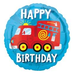 Ballon aluminium - Happy birthday camion pompier