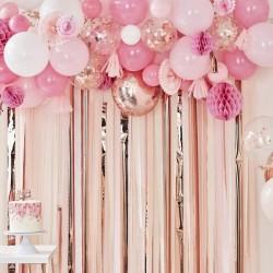Kit arche à ballons - Rose et or rose