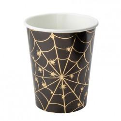8 gobelets toile d'araignée noir et or