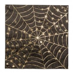 16 serviettes toile d'araignée noir et or