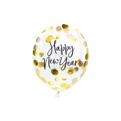 3 ballons transparent confettis - Happy new year