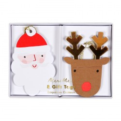 8 étiquettes cadeaux - Père noël et renne