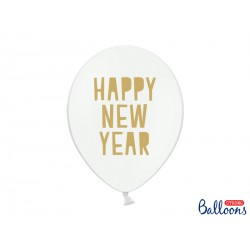 6 ballons latex Happy New Year - Blanc