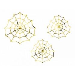 3 décorations en papier - Toile d'araignée or