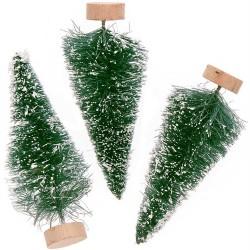 3 sapins de Noël vert - 7cm