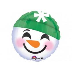Ballon aluminium Noël - Tête de bonhomme de neige