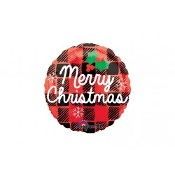 Ballon aluminium Noël - Merry Christmas plaid