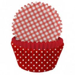 75 moules à cupcake - Mix imprimés rouge